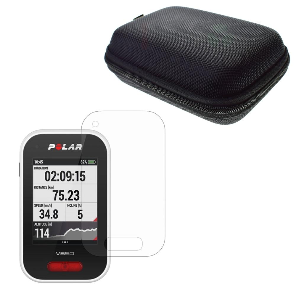Clair Protecteur D'écran LCD Garde Cover Shield Film + Extérieure Protéger Cas Portable Sac pour La Route/Montagne Vélo GPS polaire V650