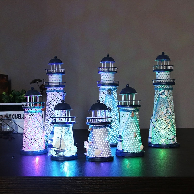 Indoor Led Lighthouse Lamps Small Night Light Mediterranean Style Iron Material Luminary For Bedroom Party Holiday