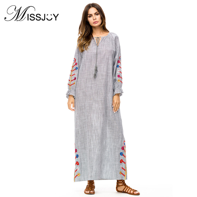 bd766118fea MISSJOY Plus size muslim dresses Women Long Sleeve V Neck Embroidered  kaftan Dubai Turkey Casual simple abaya Long maxi dress