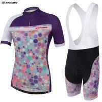 XINTOWN Women Purple Dots Cycling Jersey Bib Shorts Sets Pro Bike Clothing Suits Team Bicycle Mtb