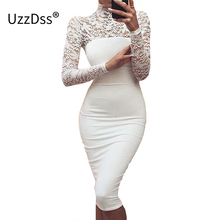 Sexy Club Dress 2017 White Black Embroidery Floral Celebrity Bodycon Bandage Dress Long Sleeve Slim Hollow