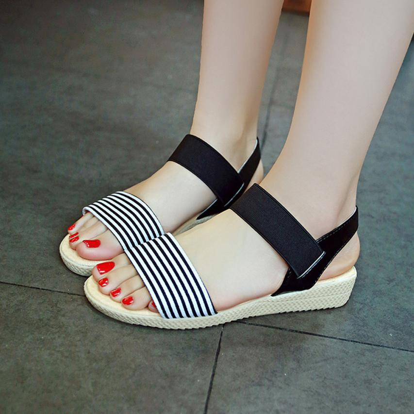 Fashion Women Flats Summer Hot Sale Sandals Female Stripe Flat Heel Anti Skidding Comfort Open Toe Beach Shoes Sandals Slippers 12