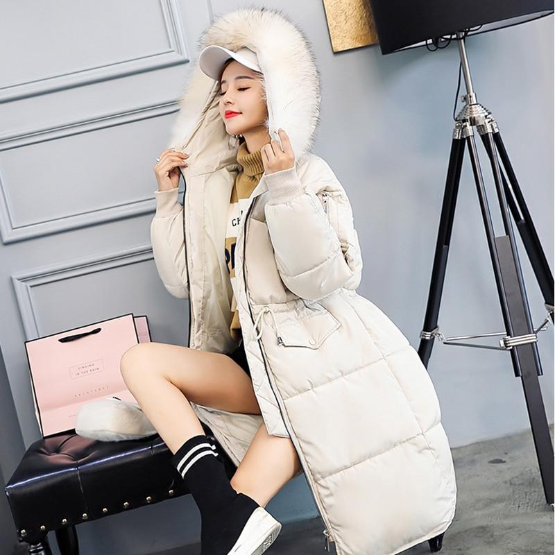 Capuche creamywhite gray Long De 2018 Taille Femmes Hiver Grande Chaud Casual Solide Coton À Couleur Col Nuw155 Black Nouveau Manteau Fourrure Moyen w1zzR6qX