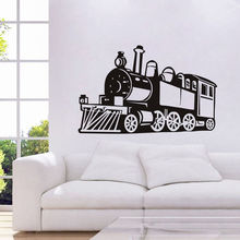 Old Fashion Train Vinyl Wall Stickers Removable Wall Decal Steam Train Wall Sticker Decoration Kids Boys Room Mural Poster SA554