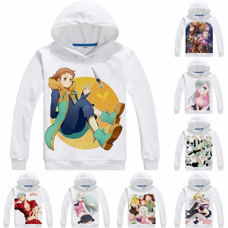 Coolprint Anime Hoodies les sept péchés capitaux 3D Hoodies multi-style manches longues à capuche 7DS Meliodas Hawk Cosplay Sweatshirts