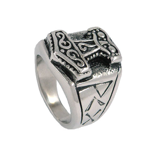 Tribal Symbol Myth Thor Hammer Ring Stainless Steel Jewelry Celtic Knot Ring Norse Motor Biker Men Ring Wholesale SWR0041(China)