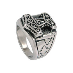 Tribal Symbol Myth Thor Hammer Ring Stainless Steel Jewelry Celtic Knot Ring Norse Motor Biker Men Ring Wholesale SWR0041