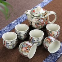 christmas Blue white double layer heat insulation scalding teacup classic twelve dozen hairpin Qingming River pattern ceramic