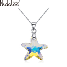 Nidalee Colorful Five-Pointed Star Necklaces Real Crystal From Swarovski Necklace Pendants For Women Wedding Party Jewelry N1617