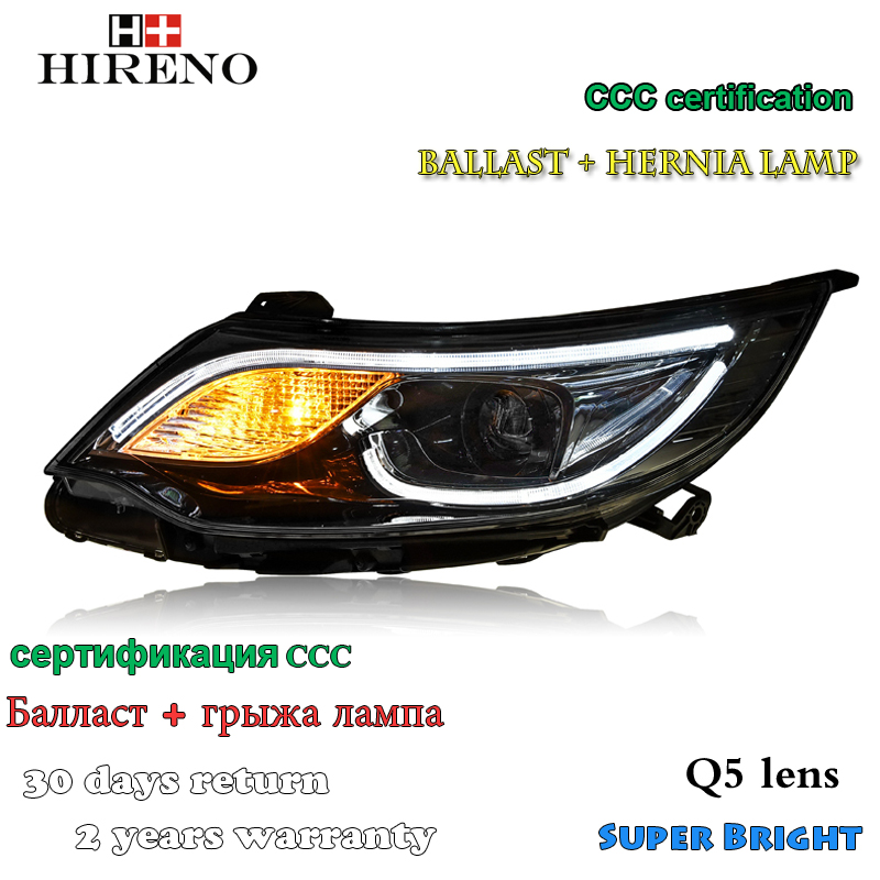 Hireno Headlamp for 2015-2016 KIA K2 RIO Headlight Assembly LED DRL Angel Lens Double Beam HID Xenon 2pcs headlight for kia k2 rio 2015 including angel eye demon eye drl turn light projector lens hid high low beam assembly