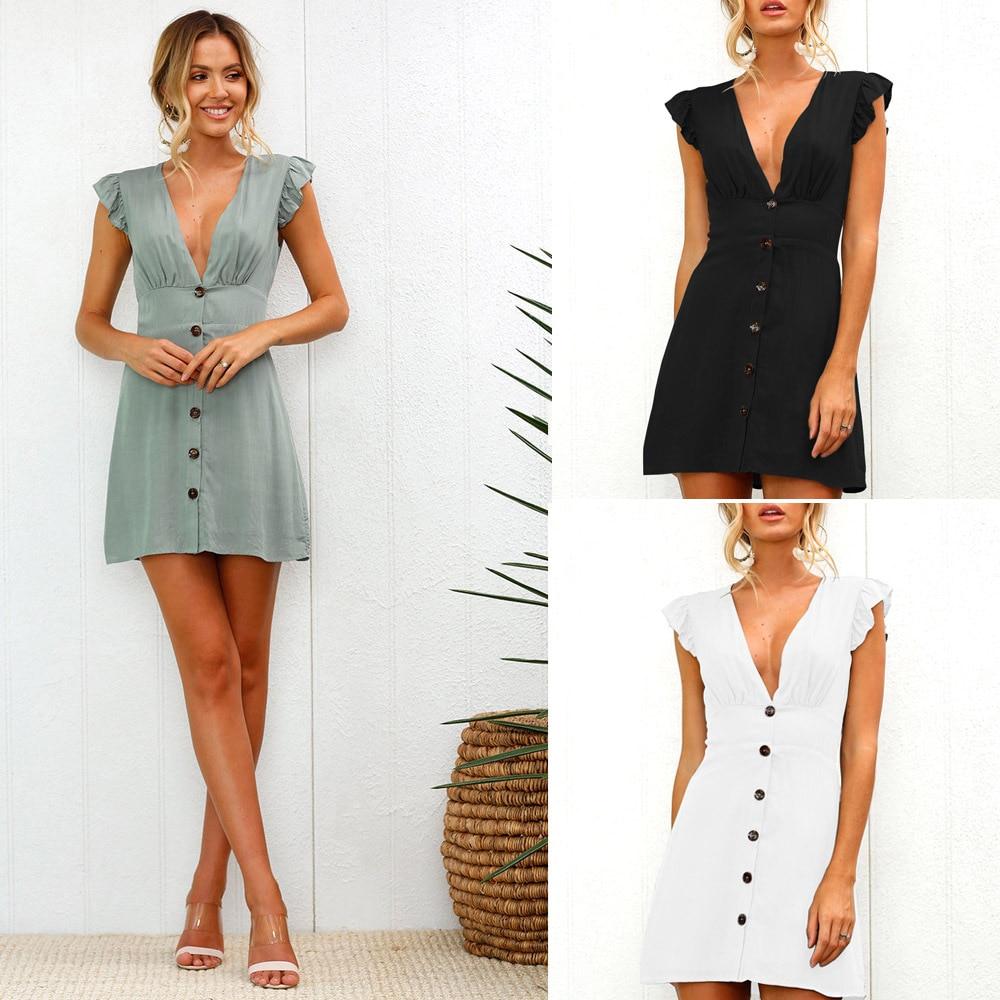 2019 nueva llegada de mujeres, vestido de verano con cuello en V profundo Sexy corto de manga cintura ajuste Mini vestido de fiesta de playa con botón