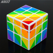 ФОТО (aosst)multicolor 3x3x3 fluorescent sticker cube professional speed twist puzzle abs magico professional educational child toys