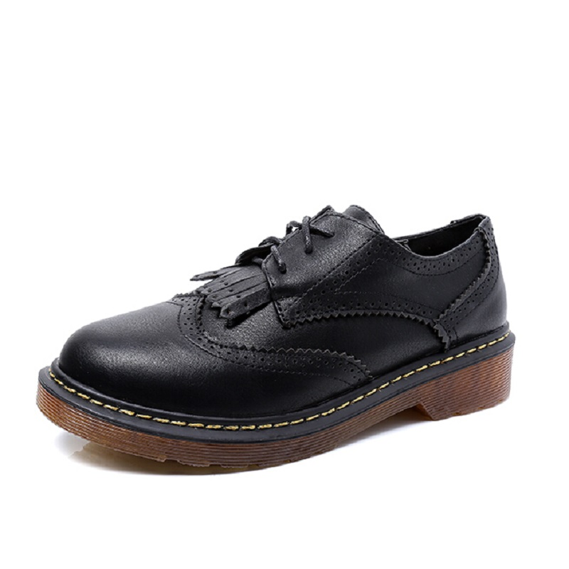 British Style Retro Soft Leather Oxford Flat Shoes For Women Square Heels Lace up Casual Shoes Woman Black Oxfords Size 34~43 new 2015 autumn flat t strap oxford shoes for women vintage british style round toe low thick heels women oxfords shoes woman