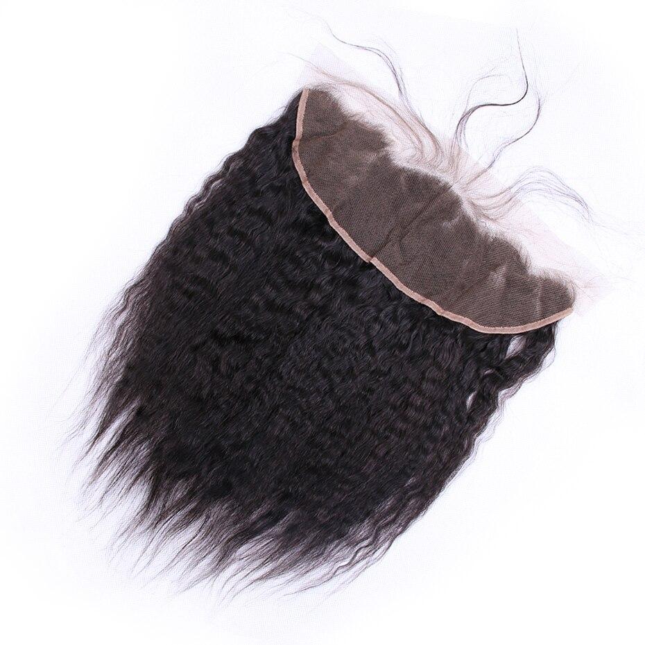 Габриэль бразильский человеческих волос Yaki прямо Кружева Фронтальная 13 х 4 Бесплатный Часть Natural Цвет non-реми волос ткет 8-22 дюйм(ов)