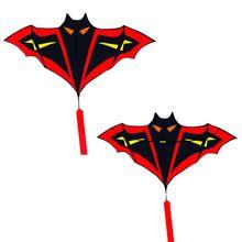 2019 New 1.8m/5.91ft Cartoon Bat Kites FRP Resin Rod Flying Sports Beach Ripstop Nylon Kitesurf Children Gift Family Outdoor