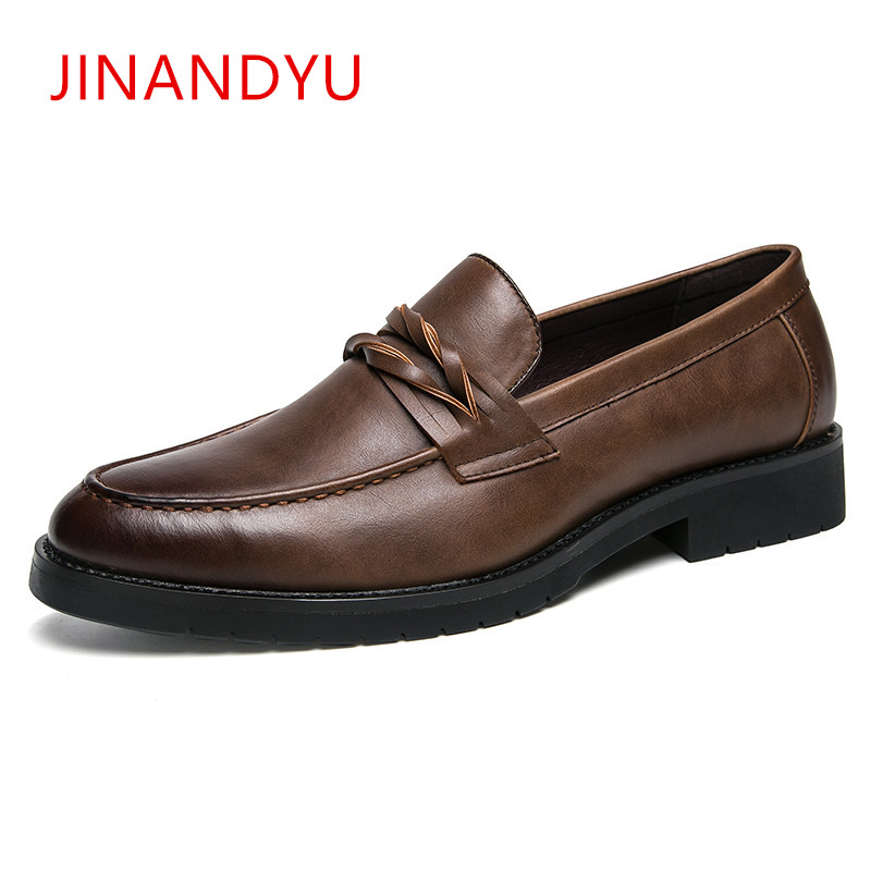 Classic Formal Dress Leather Shoes Men Pointed Toe Oxford for Elegant Office Loafers