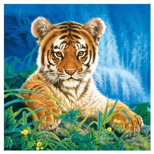 Diy gyémánt festés kereszt stitch tigris előtt a vízesés - Művészet, kézművesség és varrás
