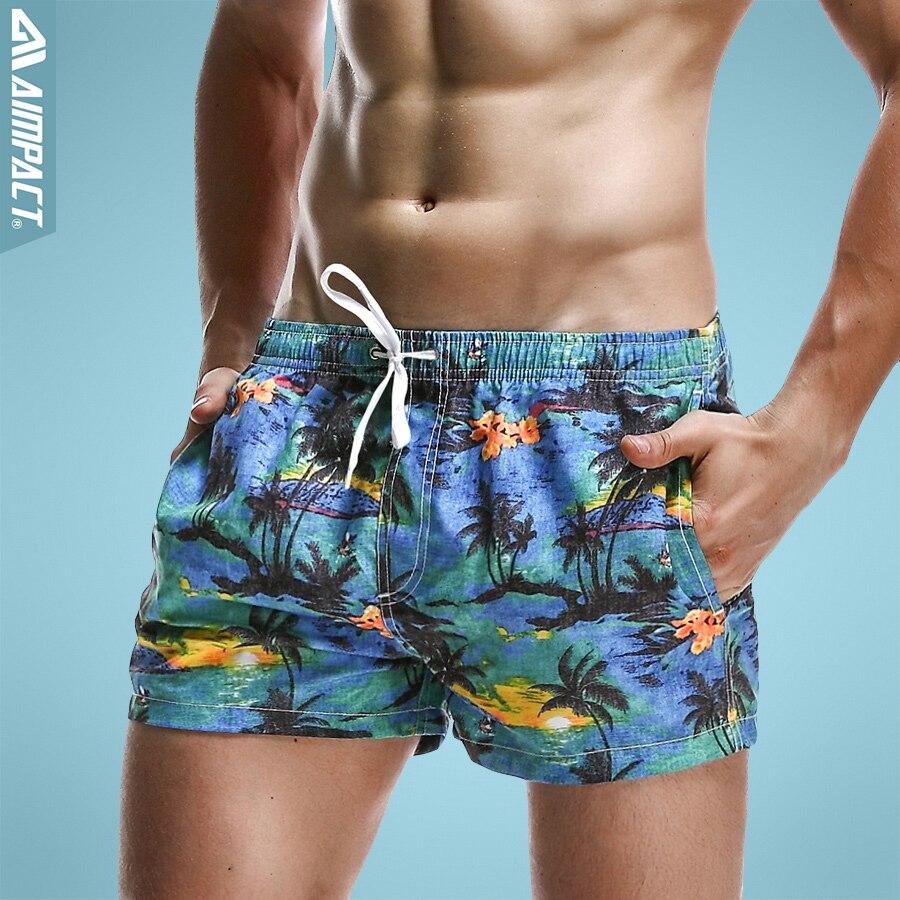 Aimpact Breathable Men's Shorts Summer Elastic Waist Men's Board Shorts Leisure Pattern Print Beach Bermudas Men Short 2PF70