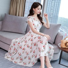 Summer New Style Women Slim Floral Printed Short Sleeve V Neck Temperament Chiffon Dress