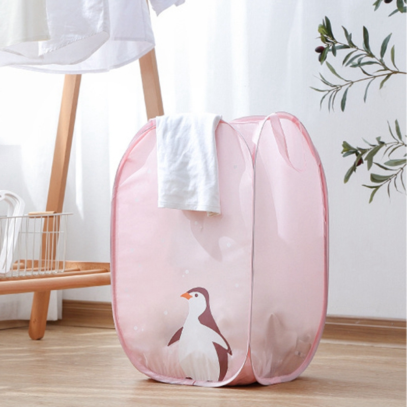 Folding Dirty Clothes Laundry Storage Basket Household Large Size Box With Cute Raccoon Cat Rabbit Penguin For Home Storage