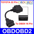 Professional For TOYOTA 22pin To 16pin Cable OBD2 Diagnostic Connector For Toyota 22 Pin Male To Female 16 Pin OBDII Adapter