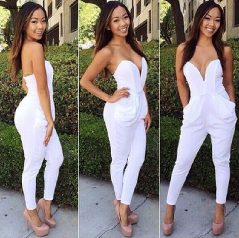 Rompers Womens Jumpsuit Sexy Blue Pockets Slim Pants Bodysuit Sleeveless Jumpsuits Xxl Macacao Feminino Macaquinhos in Jumpsuits from Women 39 s Clothing