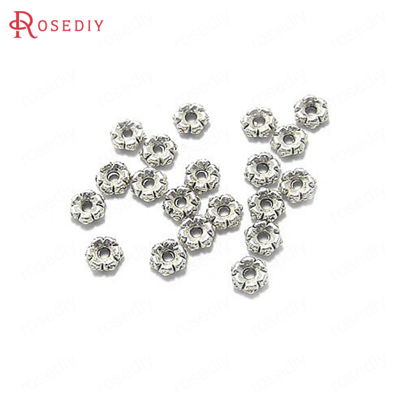 (12812)100PCS 5MM Antique Silver Zinc Alloy Flower Spacer Beads Bracelet Beads Jewelry Findings Accessories
