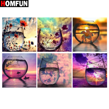 HOMFUN Full Square/Round Drill 5D DIY Diamond Painting Cup sunset scenery 3D Embroidery Cross Stitch 5D Home Decor Gift dispaint full square round drill 5d diy diamond painting mandala scenery 3d embroidery cross stitch 5d home decor a10820