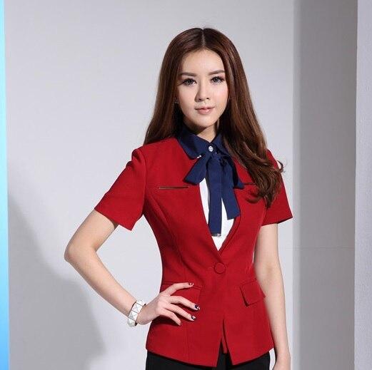 Short Sleeve 2015 Summer Fashion Elegant Red Uniform Style Female Blazers Business Women Tops Jackets Work Wear Blazer Blaser