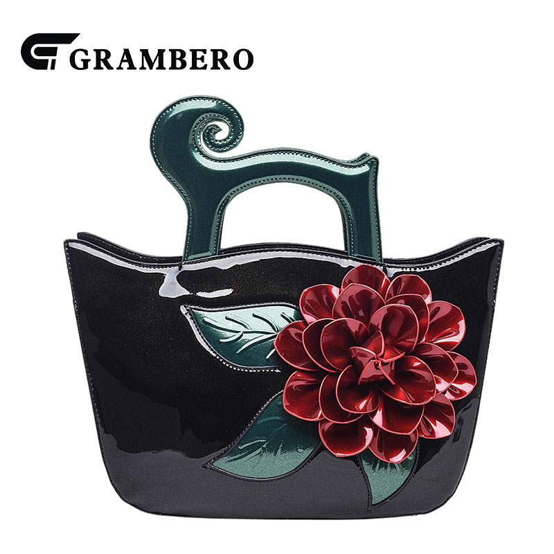 Fashion Women Handbag Soft Bright PU Leather Big Flower Top-handle Bag 2018 New Style Lady Banquet Shoulder Crossbody Bags Gifts fashion relief rose flower pattern handbag pu leather genuine leather zipper ring top handle bag lady party shoulder bags gifts