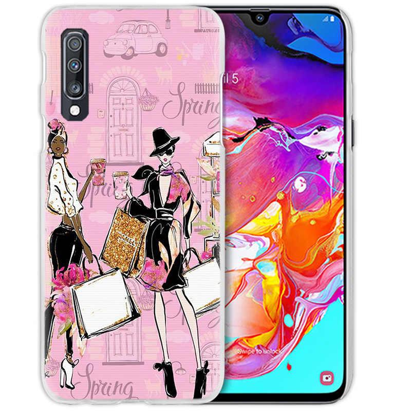 สาวช้อปปิ้งสำหรับ Samsung Galaxy A50 A70 A20e A60 A40 A30 A20 A10 A8 A6 Plus A9 A7 2018 Hard PC โทรศัพท์ Coque Hot
