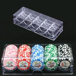 Poker Chips Set Box Poker Acrylic Fine Chips Transparent Box Casino Game Tray Chips Case With Covers Poker Chips Box 1(China)