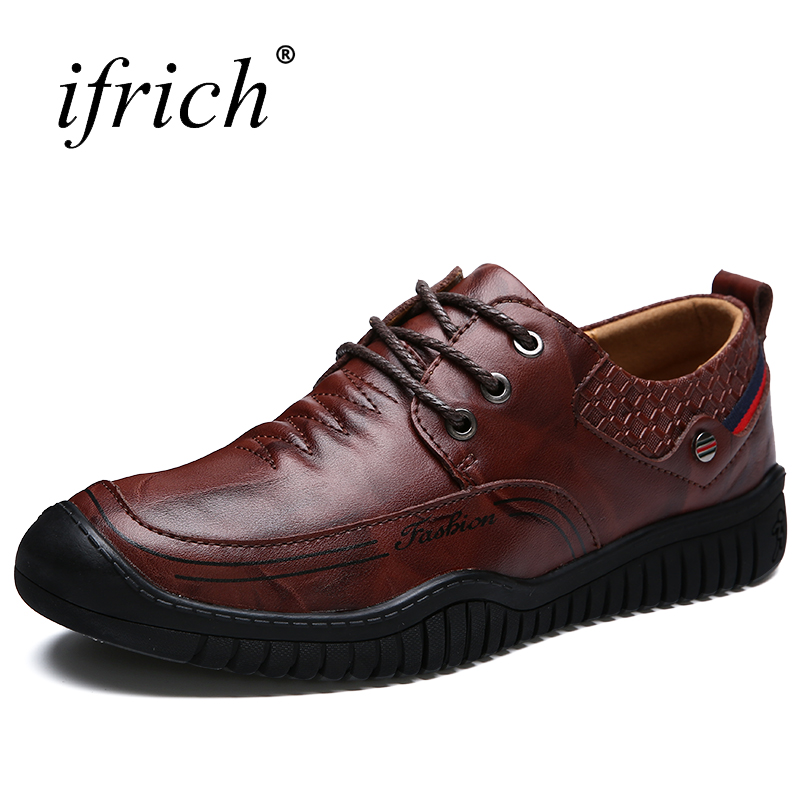 Ifrich Hot Sale Moccasins for Men of Genuine Leather Comfortable Male Luxury Fashion Shoes Lace Up Brown Man Casual Footwear 2018 spring genuine leather loafers men casual shoes lace up luxury fashion male handmade moccasins driving footwear xxz5