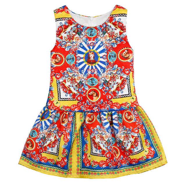 Fashion Summer Baby Girls Catholic Pattern Princess Dress Sleeveless