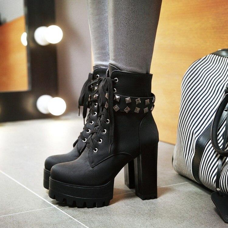 PXELENA Vintage Rivet Punk Gothic Rock Biker Motorcycle Boots Women Lace Up Platform Square Chunky Block High Heels Martin Boots