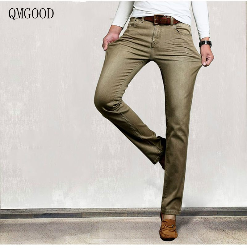 QMGOOD 2017 New High-quality Men's Khaki Jeans Men's Fashion Brand Straight Slim Casual Pants Hot Sell Male Cowboy Trousers 32 men s cowboy jeans fashion blue jeans pant men plus sizes regular slim fit denim jean pants male high quality brand jeans