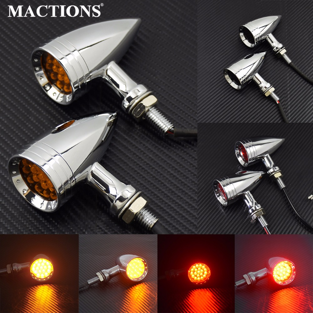 Motorcycle LED Turn Signal Bullet Blinker Orange & Red Indicator Lights Gray/Orange/Red Lens 10mm Vintage Chrome For Harley