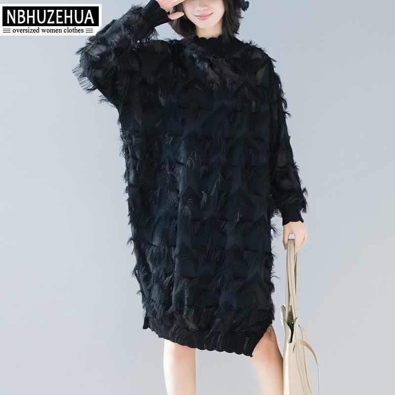 NBHUZEHUA женское вечернее платье черное элегантное с длинным рукавом Водолазка кружевное платье размера плюс черные платья весна 2019 4XL 5XL 19-A135