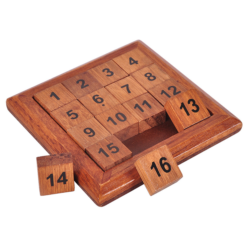 Classic Toys Wood Number 1-16 Puzzle IQ Brain Teaser Logic Wooden Puzzles Game Math Toys Table Game Play for Adults Children Toy