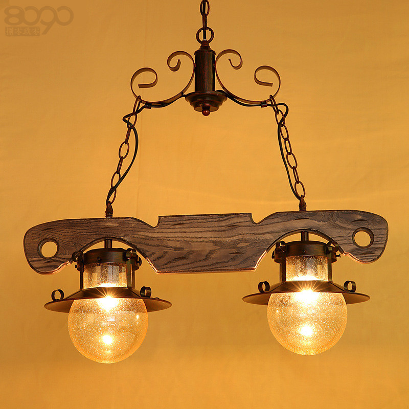 Creative American Country Vintage Ash Wood Iron Glass E27 Pendnat Light For Living Room Bar Restaurant