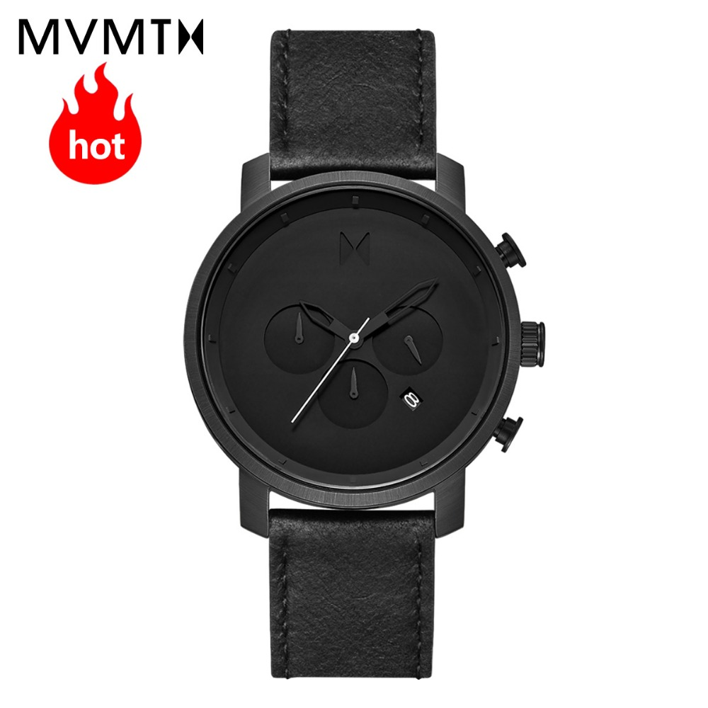 MVMT orologio ufficiale di punta della moda stile Europeo e Americano con la vigilanza di cuoio degli uomini orologio al quarzo impermeabile 45 mmdw