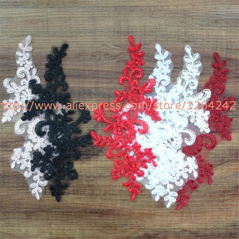 6Pcs 22.5X12cm 10Colors Delicate Wedding Veil Head Ornaments Lace Applique Lace Trim Dress DIY Lace Accessories BD0049(China)