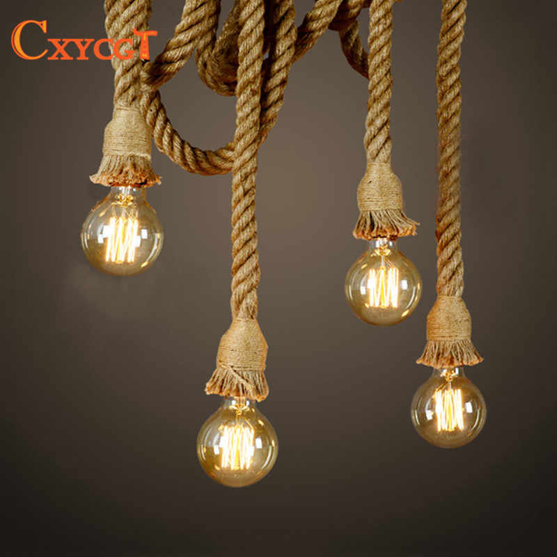 Ретро Винтаж веревки подвесной светильник лампа Лофт творческая личность промышленного Эдисон лампы Американский Стиль для Гостиная