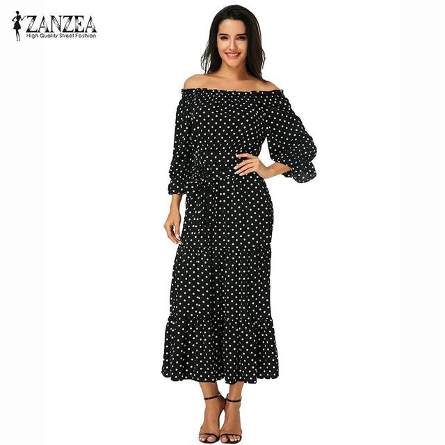 c9a1c0325e2 ZANZEA Vestidos Summer Dress 2018 Women Slash Neck Sexy Off Shoulder Maxi  Dresses Polka Dot Baggy Long Beach Dress Plus Size