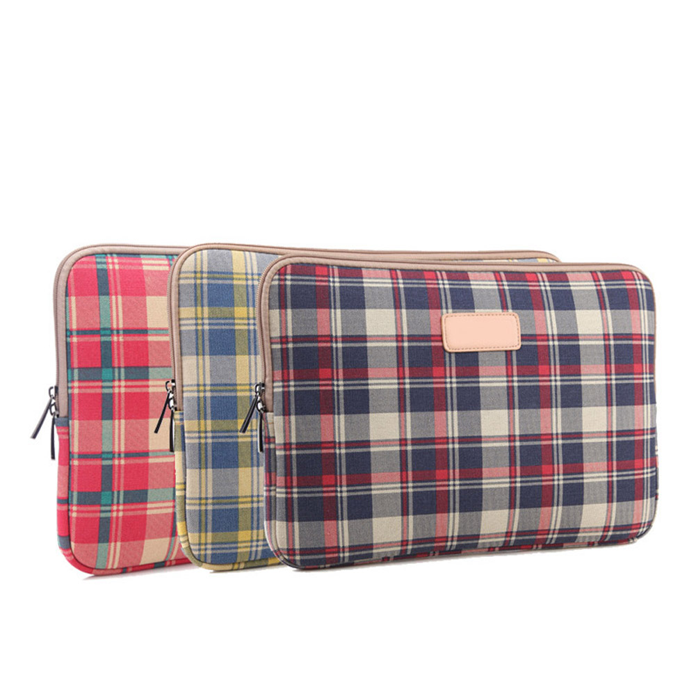 12/13/14/15.6 Inch Laptop Bag Checked Stripe Zipped Table Sleeve Case Notebook Computer  ...