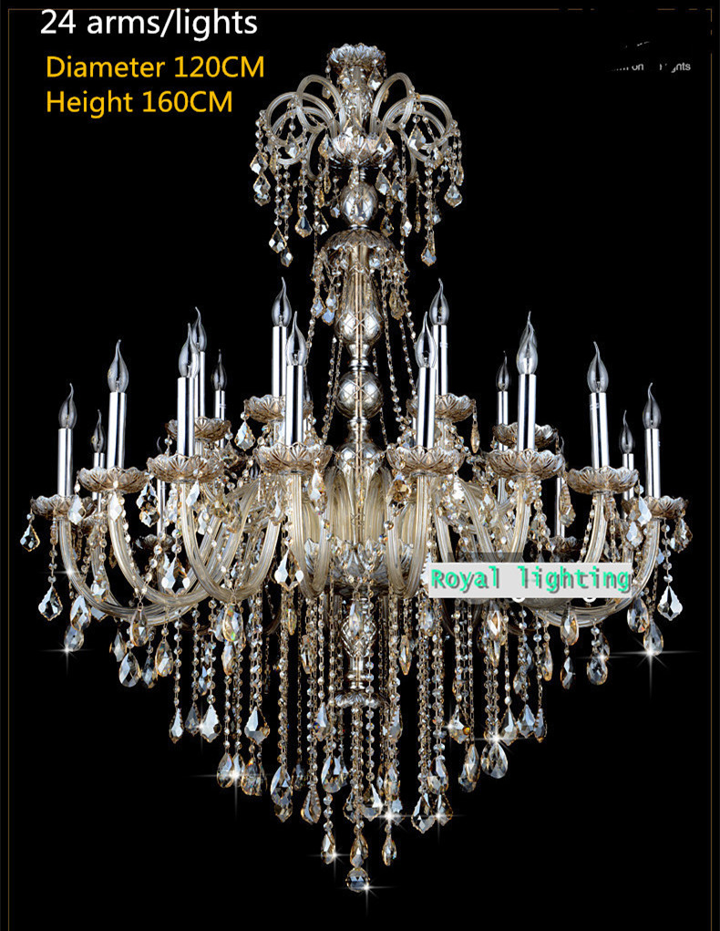 star hotel hanging Led chandelier crystal lamp for church lobby large - Indoor Lighting
