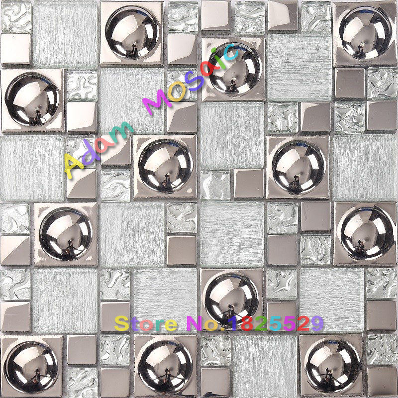 Silver crystal glass tile pink porcelain mirror mosaic ...
