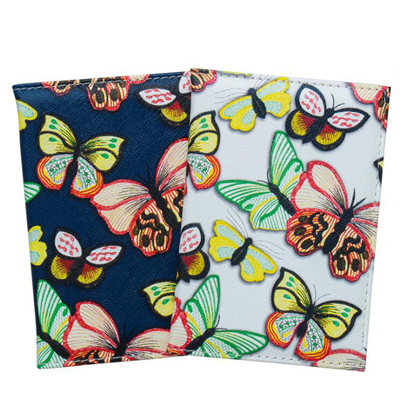 Card & Id Holders Fashion Passport Holder Women Passport Cover Wallet Butterfly Printing Waterproof Card Holder Leather Travel Passport Holder