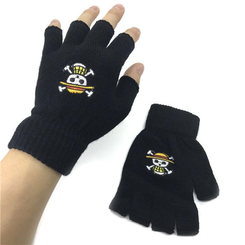 Unisex Gloves Fingerless Anime One Piece Pirates Jolly Roger Luffy Skull Knitted Glove Winter Warm Wrist Mittens Cosplay Mitten