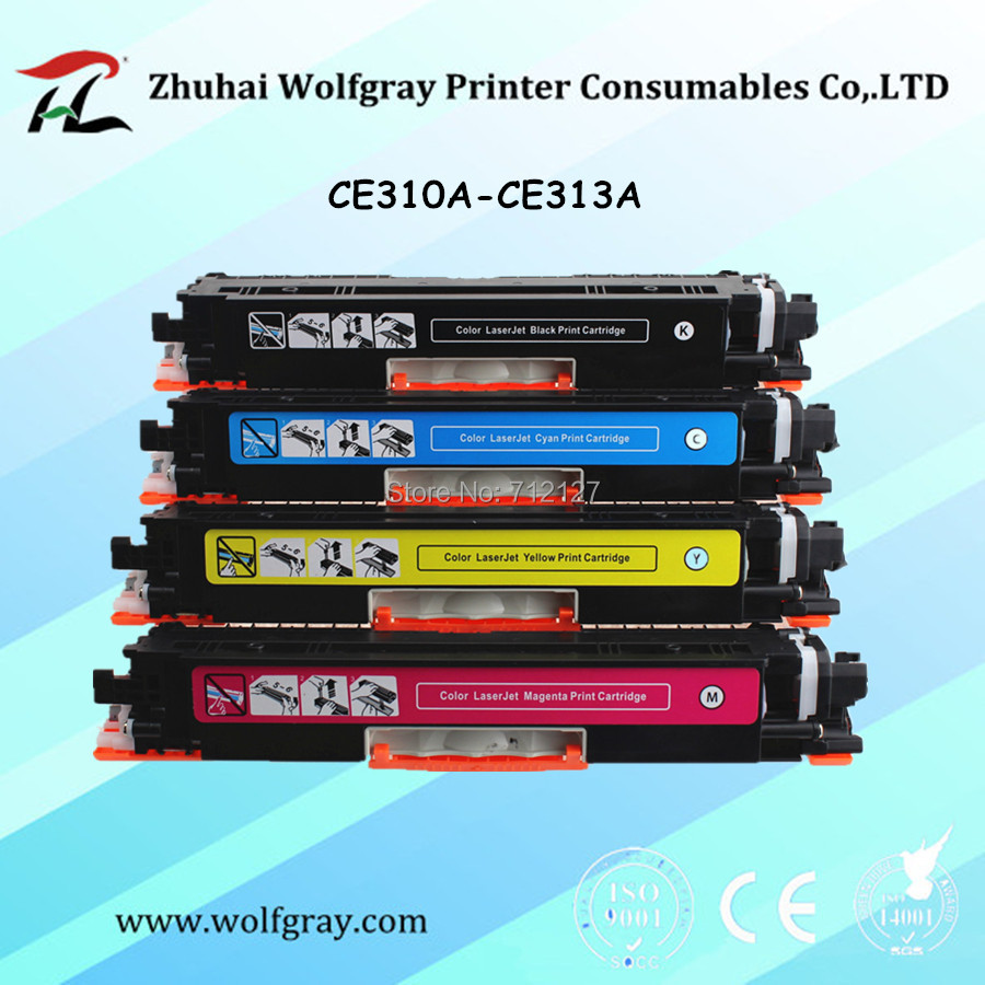 YI LE CAI 4Pk Compatible Toner Cartridge For HP 126A CE310A 310a CE311A 311a CE312A 312a CE313A 313a LaserJet Pro CP1025 1025nw